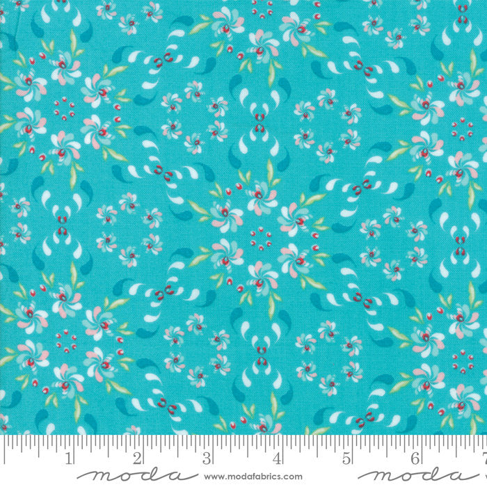 Turquoise Floral Wreath Fabric from Coledale Collection at Cherry Creek Fabric