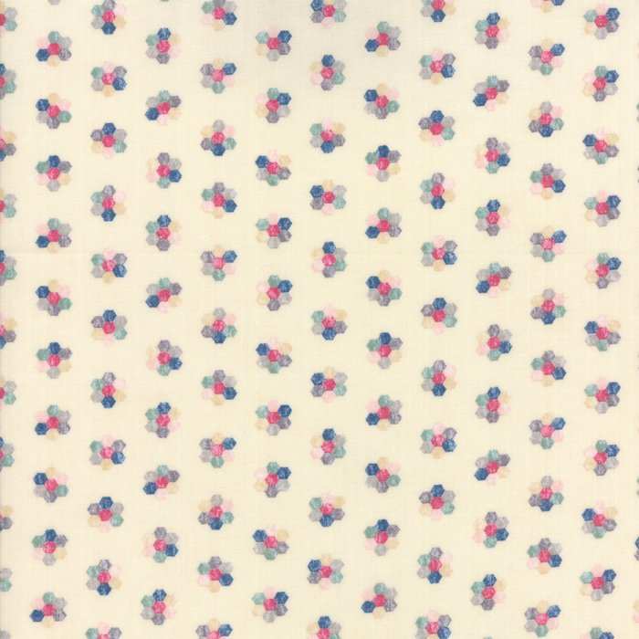 Cream Hexagon Floral Fabric from Freya & Friends Collection at Cherry Creek Fabric