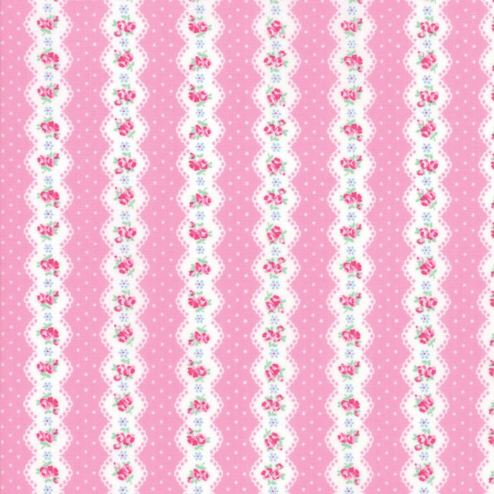 Pink Floral Stripe Fabric