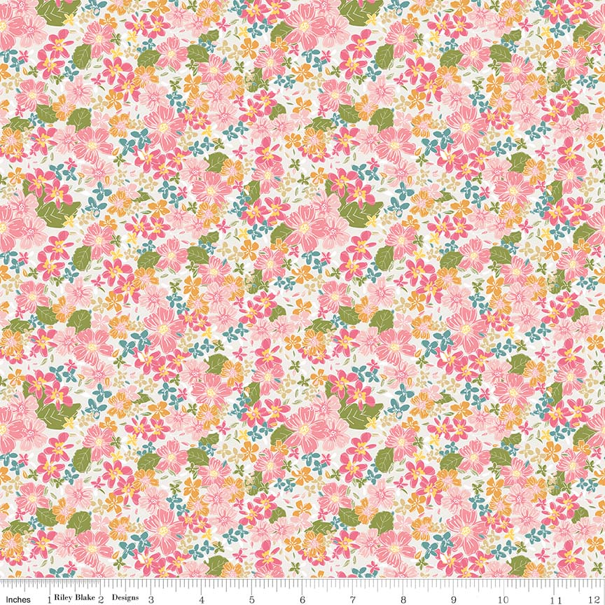 Cream Floral Fabric</br>END OF BOLT </br>1 yds + 34""