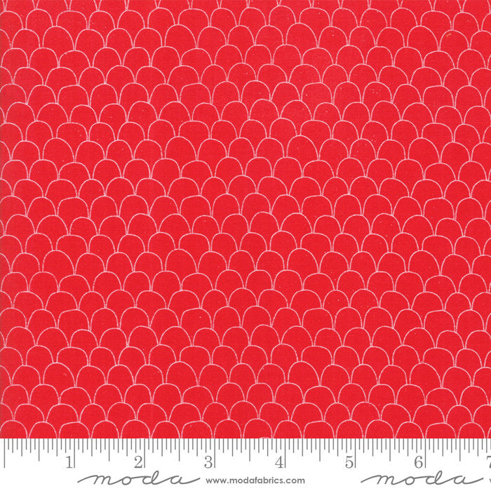 Red Scalloped Feathers Fabric from Farm Fresh Collection at Cherry Creek Fabric