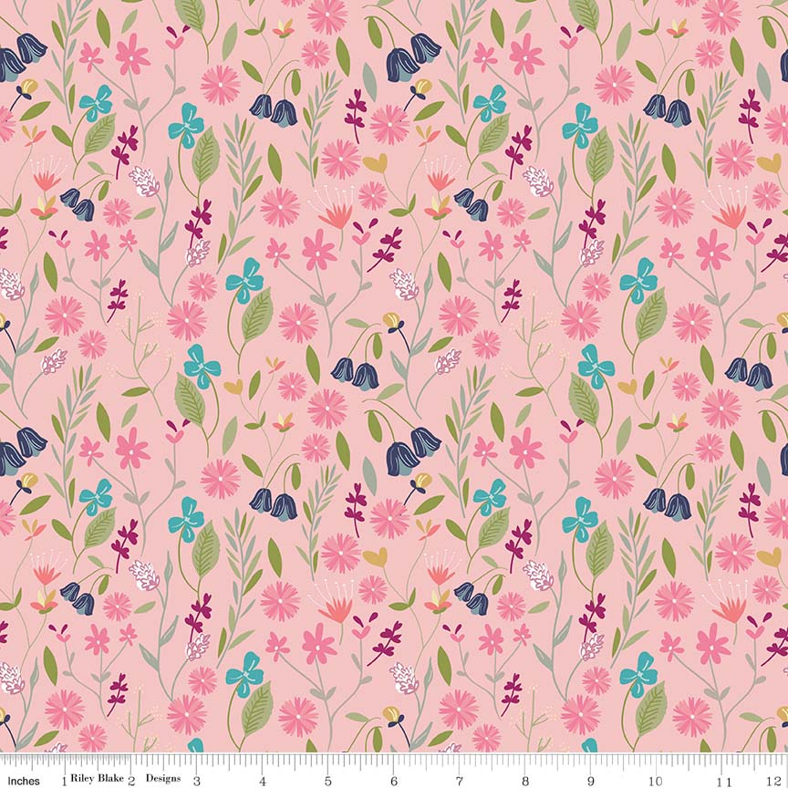 Pink Flower Field Fabric from In the Meadow Collection at Cherry Creek Fabric