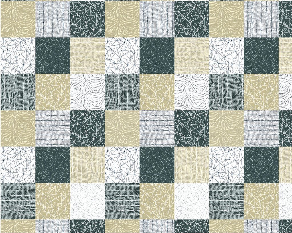 Patchwork White Fabric from Catnip Collection at Cherry Creek Fabric