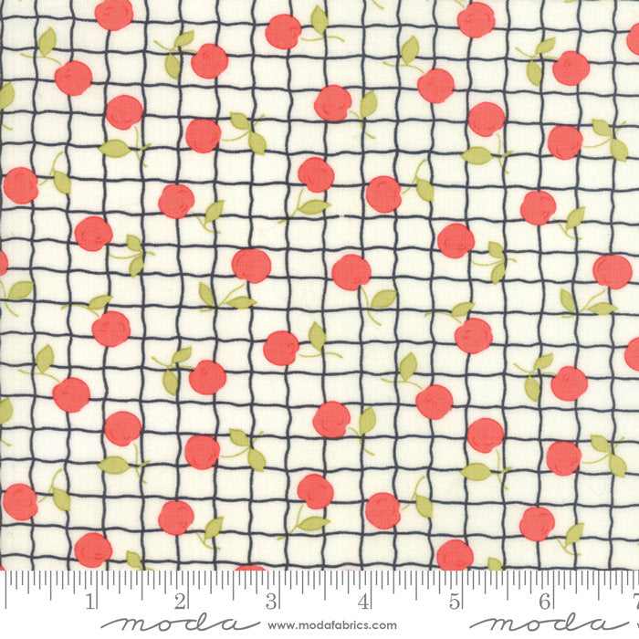 Cream Red Apple Picnic Fabric from Farmhouse II Collection at Cherry Creek Fabric