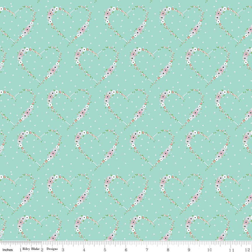 Aqua Heart Fabric from Vintage Keepsakes Collection at Cherry Creek Fabric