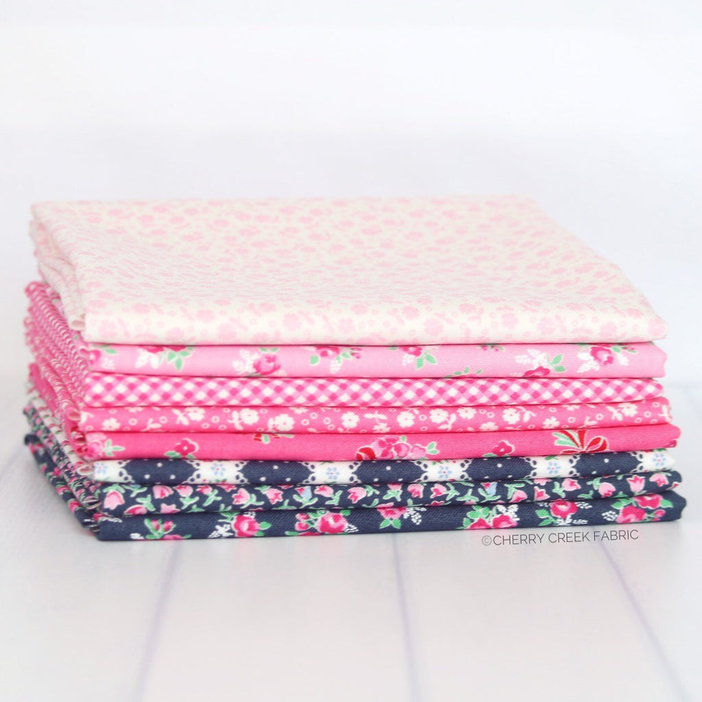 Guest Room Navy & Pink Fat Quarter Bundle from Cherry Creek Fabric & Crafts Collection at Cherry Creek Fabric
