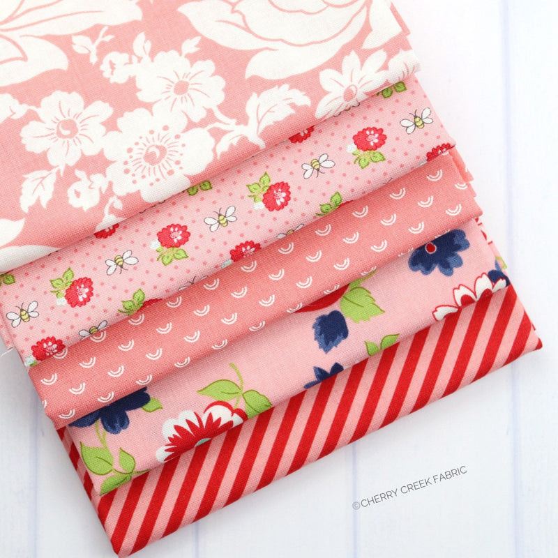 Shine On Pink Fat Quarter Bundle - 5 pieces