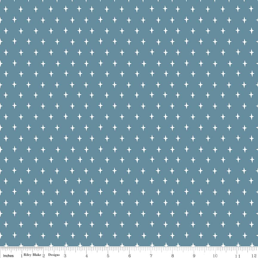 Dark Blue Stars Fabric
