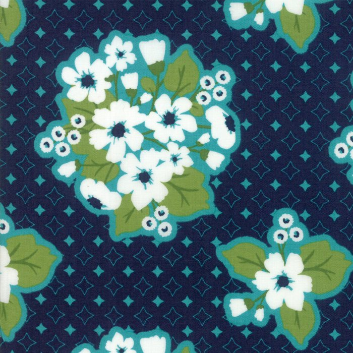 Dark Blue Last Blooms Fabric