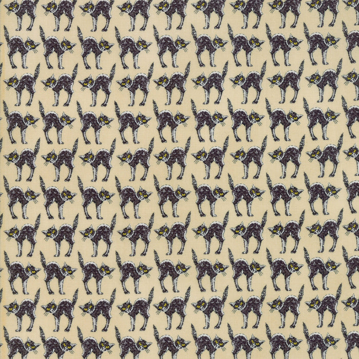 Tan Creepy Cats Fabric