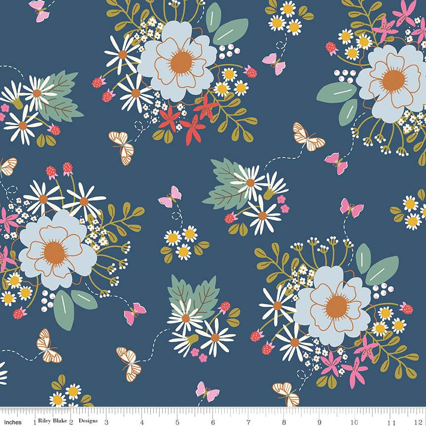 Navy Bouquet Fabric from Wild Bouquet Collection at Cherry Creek Fabric