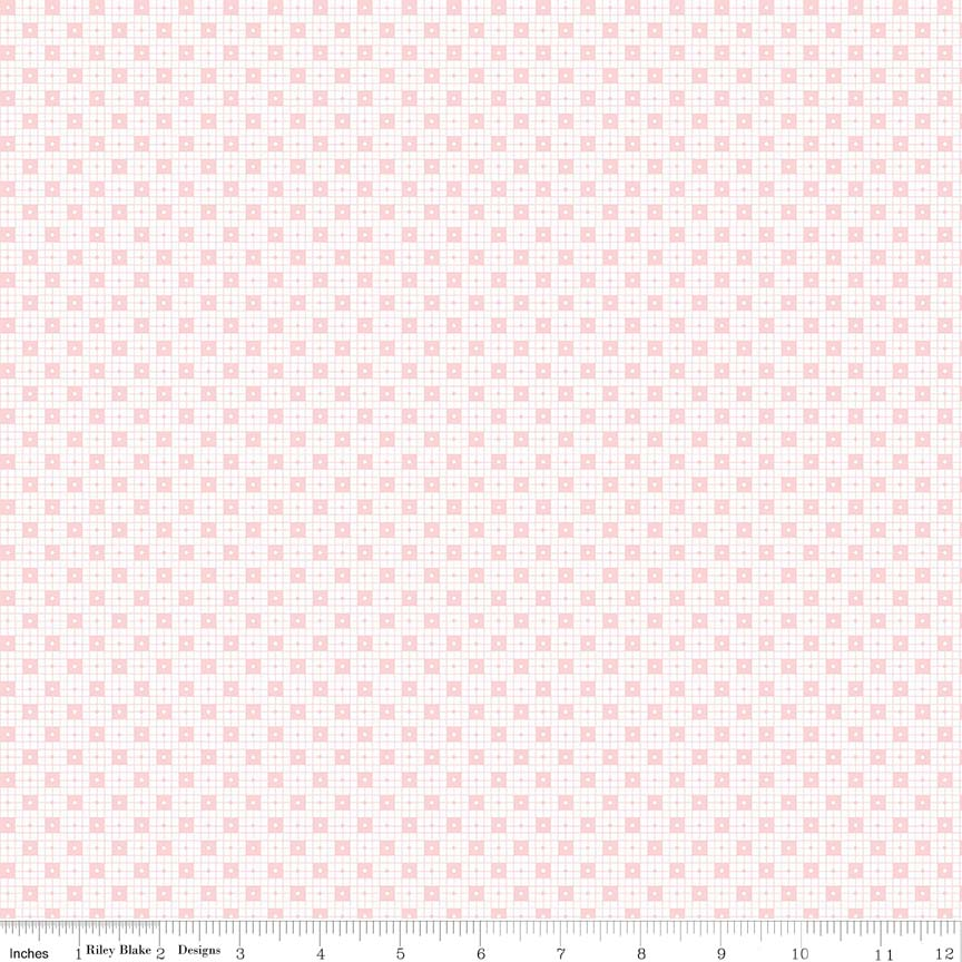 Pink Checker Dots Fabric