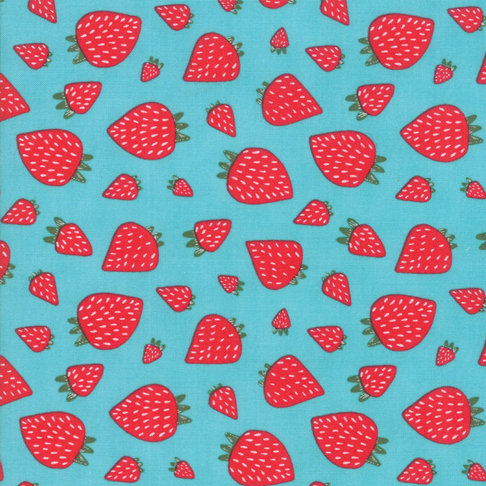 Turquoise Strawberry Patch Fabric