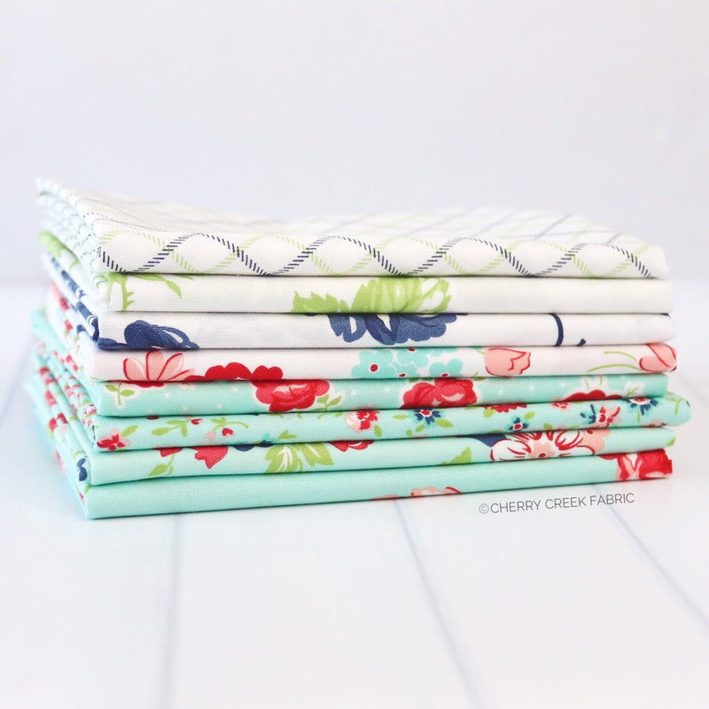 Smitten Aqua & White Fat Quarter Bundle from Smitten Collection at Cherry Creek Fabric