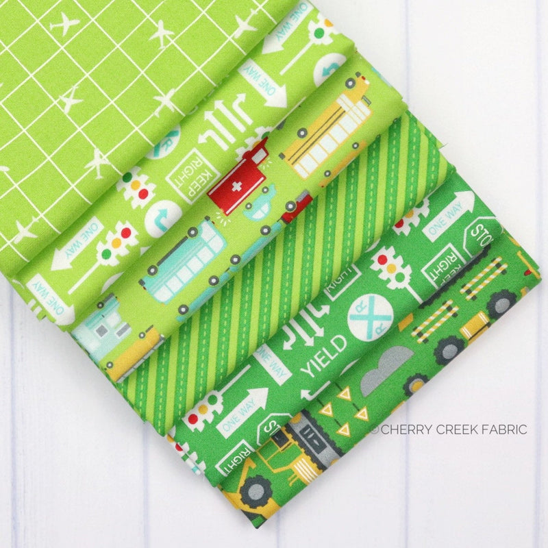 On the Go Green Fat Quarter - 6 pieces