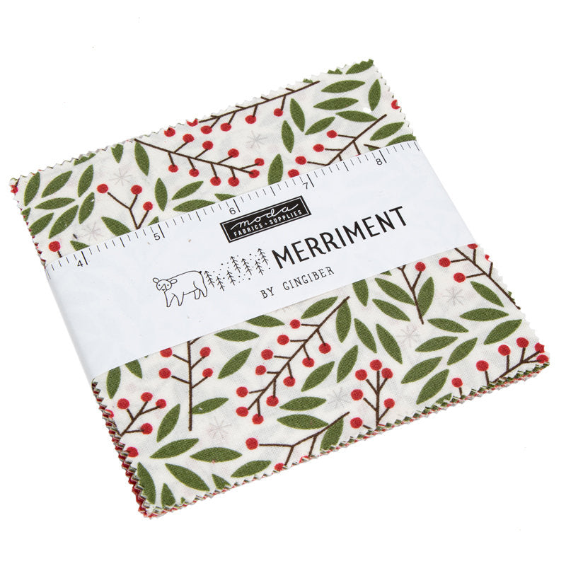 Merriment Charm Pack - Gingiber Designs - Moda Fabric - Fabric Bundle - Moda Charm Pack - Christmas Fabric - 42 pieces from Cherry Creek Fabric & Crafts Collection at Cherry Creek Fabric
