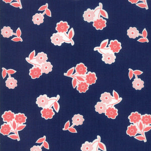 Navy Handpicked Bouquet Fabric