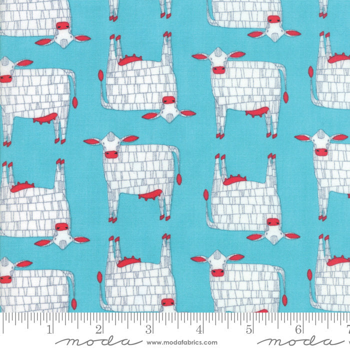 Turquoise Moo Cow Fabric from Farm Fresh Collection at Cherry Creek Fabric