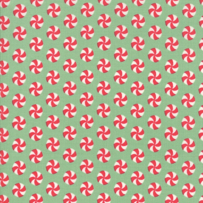 Sweet Christmas by Urban Chiks | Green Peppermint Polka Dot Fabric