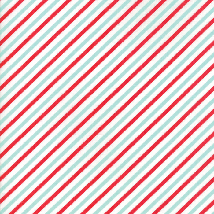 Red Aqua Candy Stripe Flannel Fabric