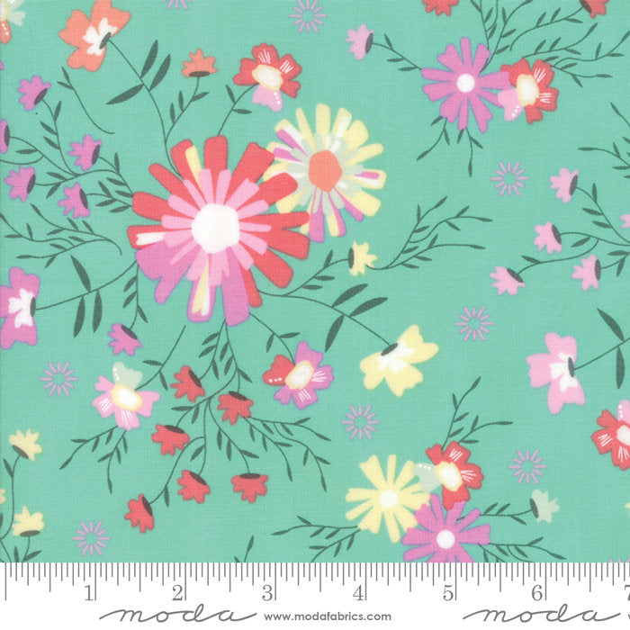 Turquoise Sugar Creek Floral Fabric from Sunnyside Up Collection at Cherry Creek Fabric