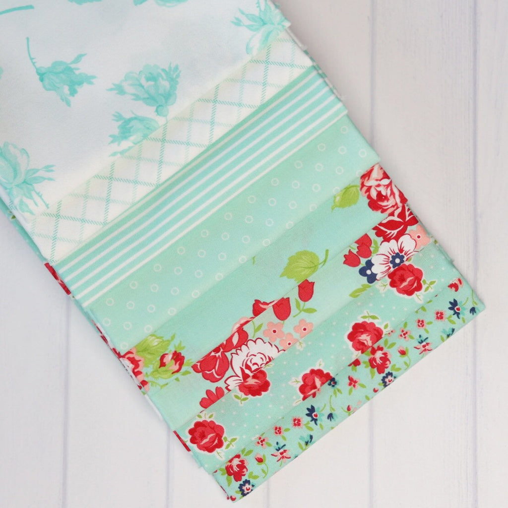 Smitten Aqua One Yard Fabric Bundle from Smitten Collection at Cherry Creek Fabric