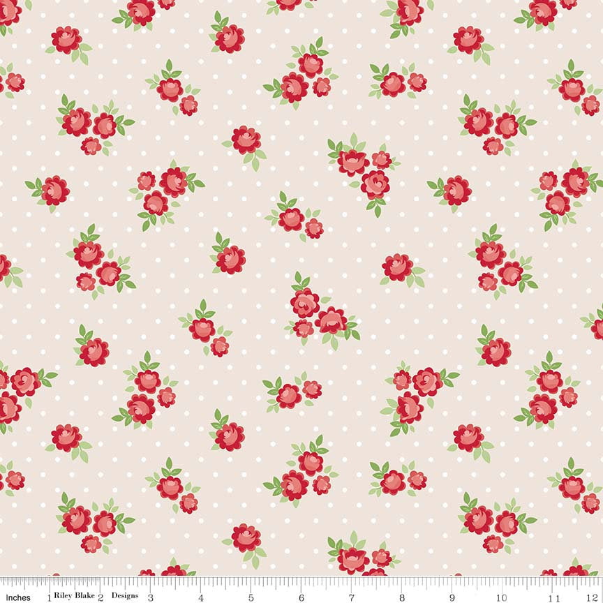 Cream Tiny Rose Fabric from Harry & Alice Collection at Cherry Creek Fabric