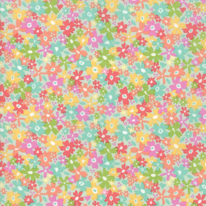 Aqua Floral Charming Fabric from Sunnyside Up Collection at Cherry Creek Fabric