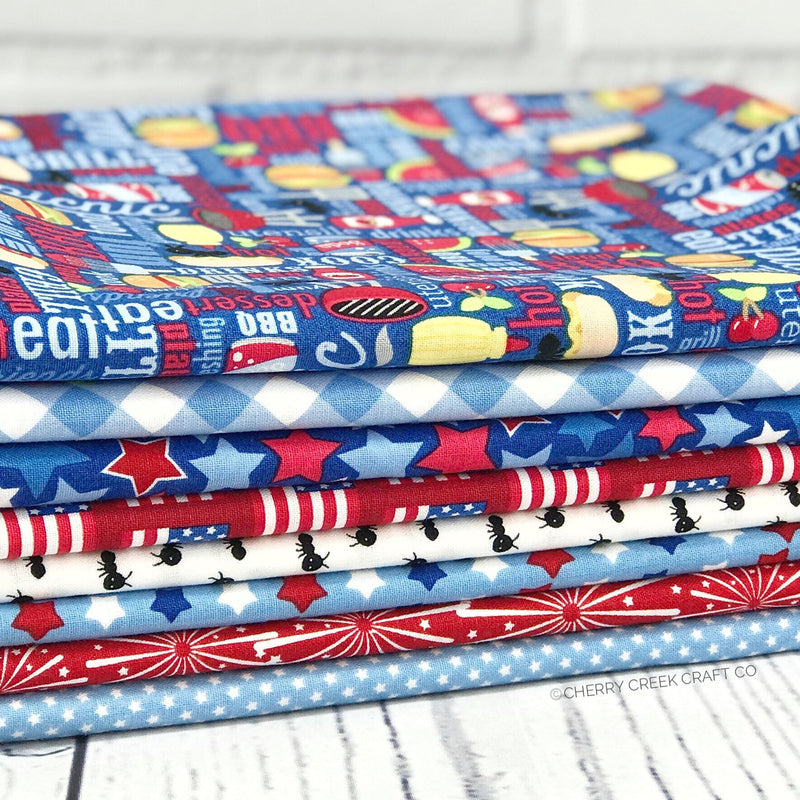 Patriotic Picnic Blue One Yard Bundle from Patriotic Picnic Collection at Cherry Creek Fabric