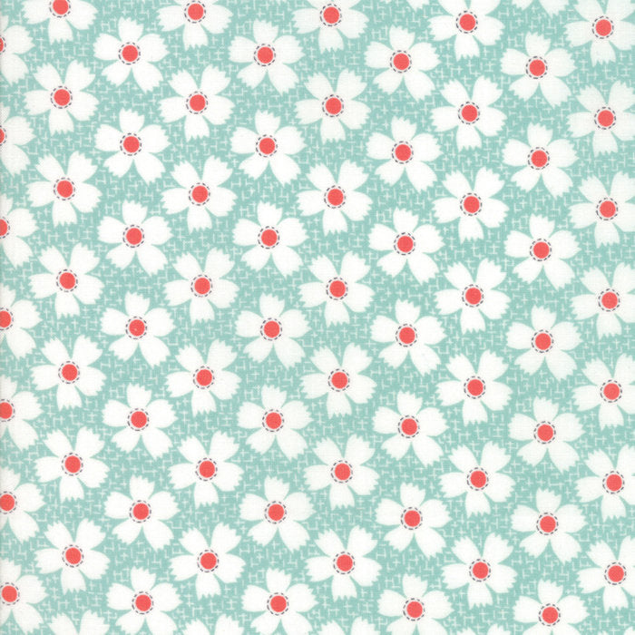 Aqua Gingham Daisies Fabric