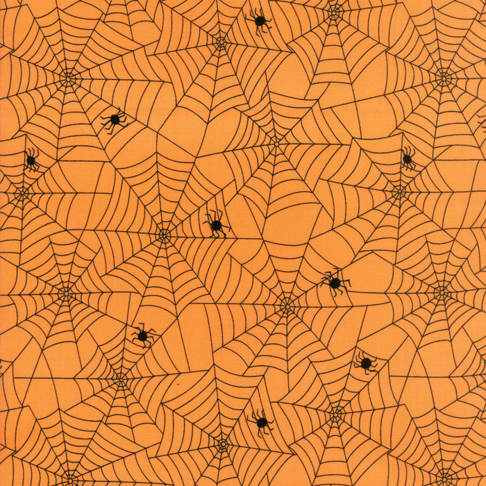 Orange Spiddy Webs Fabric