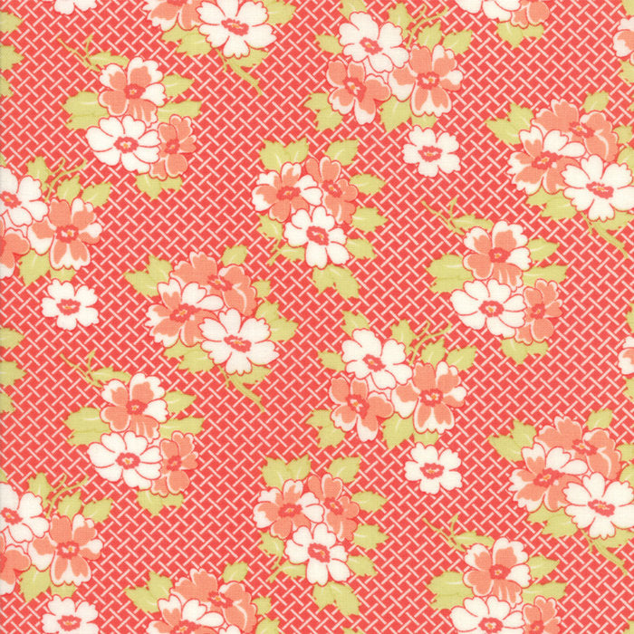 Red Basketweave Posies Fabric