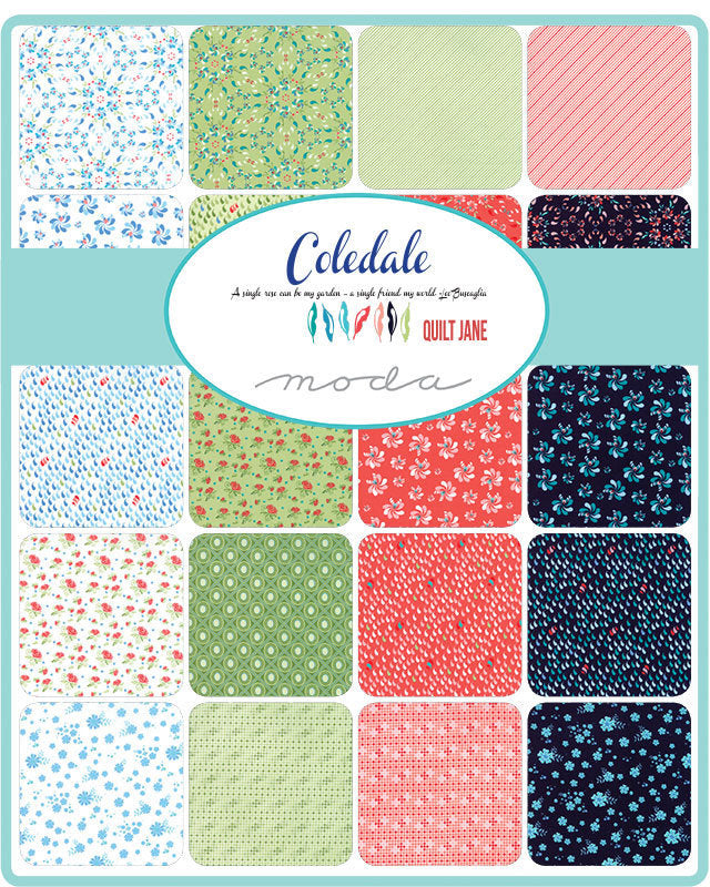 Coledale White/Blue Fat Quarter Bundle - 6 pieces