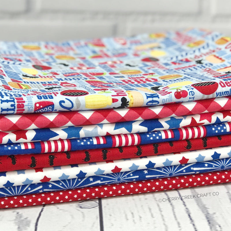 Patriotic Picnic Light Blue One Yard Bundle from Patriotic Picnic Collection at Cherry Creek Fabric