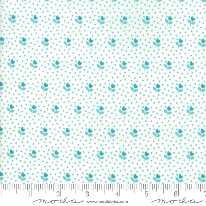 Turquoise on White Flower Bud Fabric from All Weather Friend Collection at Cherry Creek Fabric