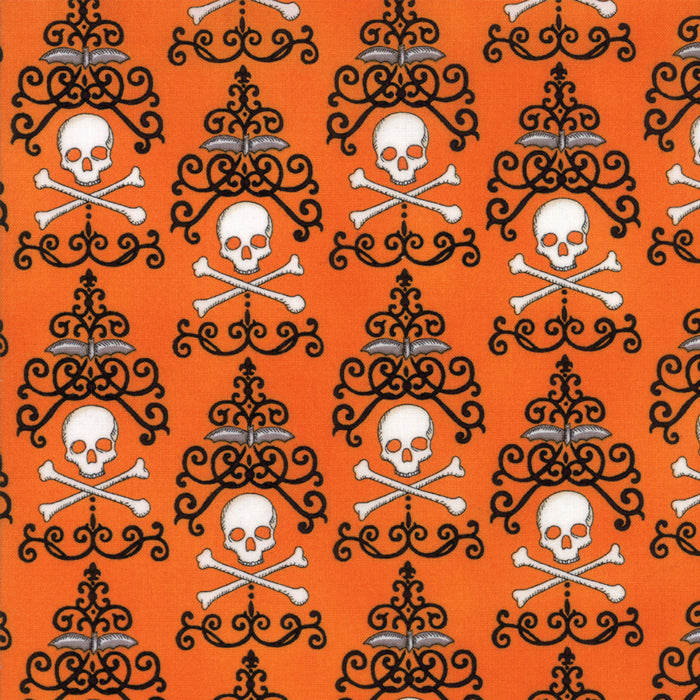Orange Danger Damask Fabric from Bewitching Collection at Cherry Creek Fabric
