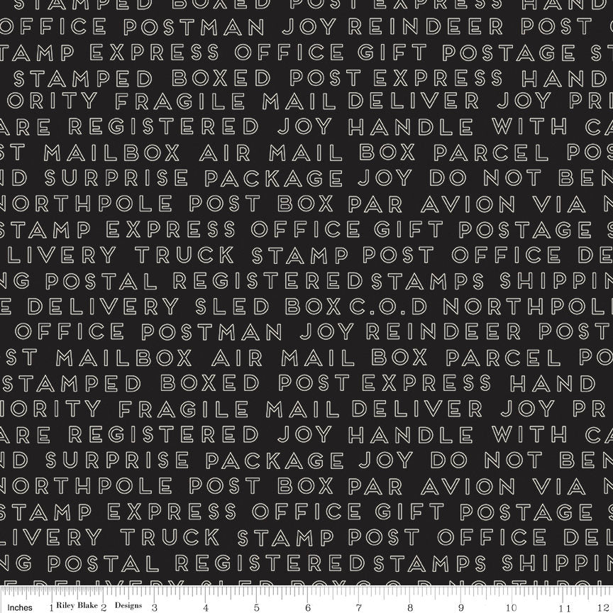 Black Christmas Text Fabric from Christmas Delivery Collection at Cherry Creek Fabric