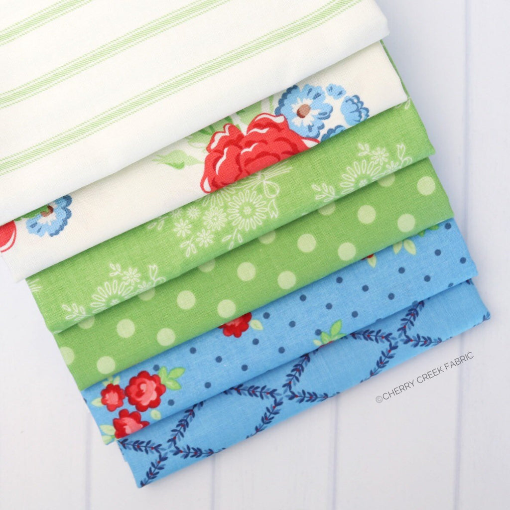 Harry & Alice Blue/Green Half Yard Bundle - 6 pieces