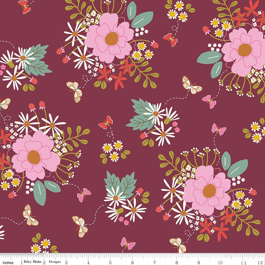 Merlot Bouquet Fabric from Wild Bouquet Collection at Cherry Creek Fabric