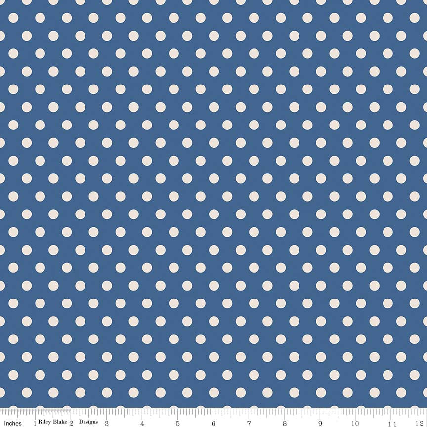 Navy Dots Fabric from Harry & Alice Collection at Cherry Creek Fabric