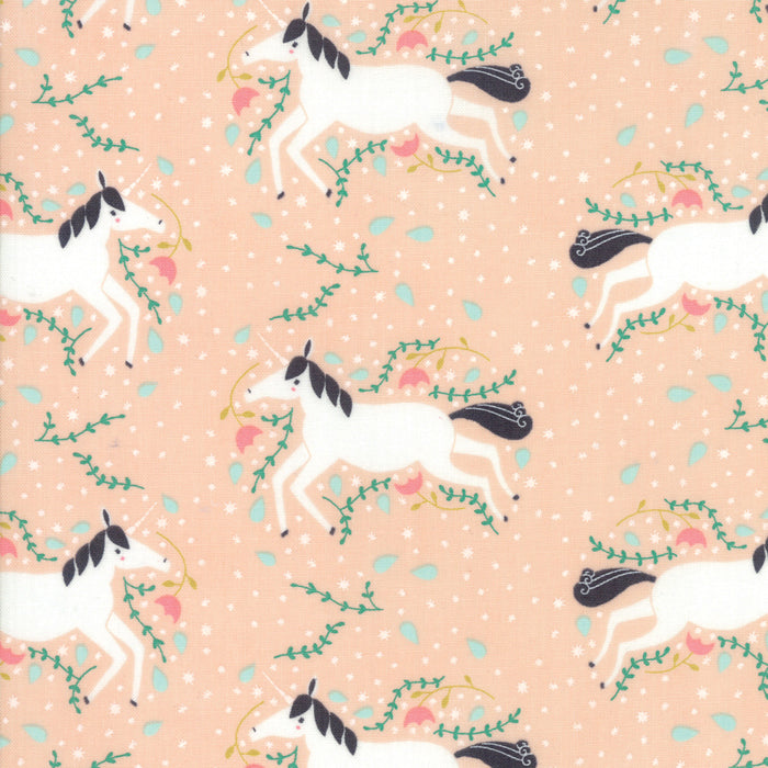 "60"" Peach Unicorns Galore Snuggle Fabric"