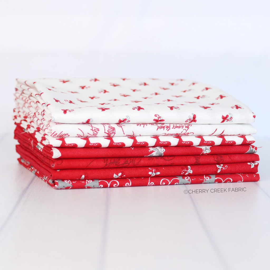 Sno Red & White Fat Quarter Bundle - 7 pieces