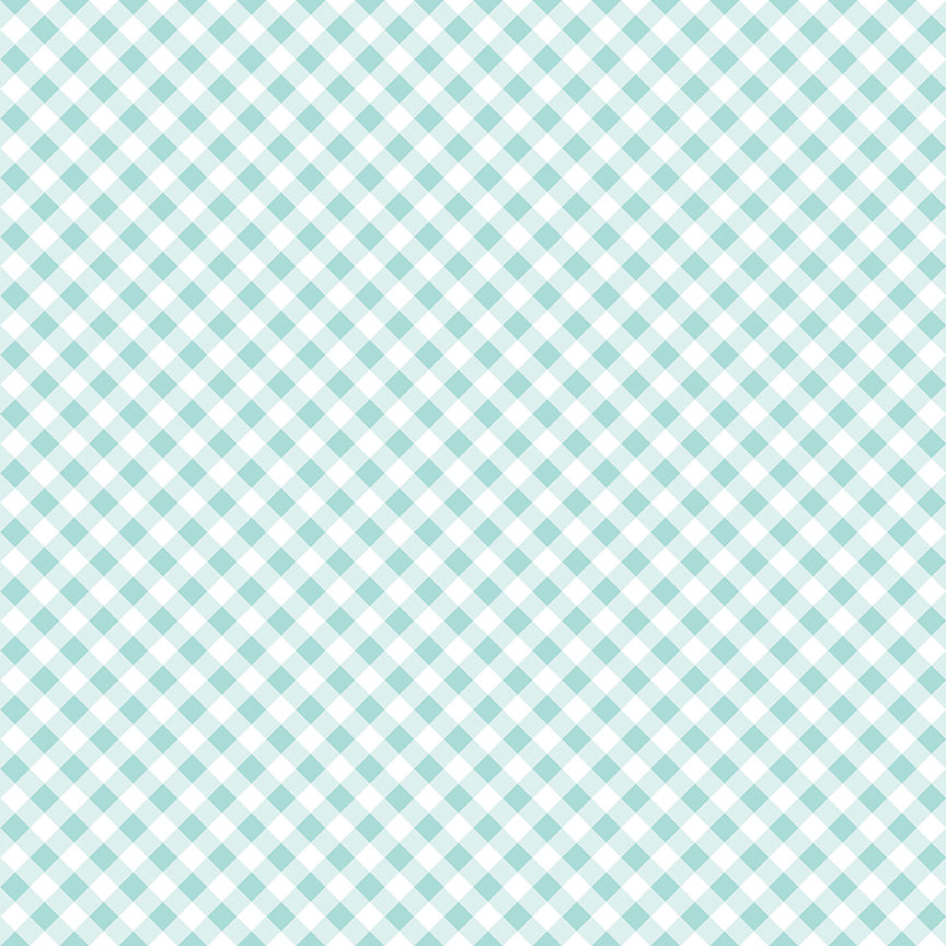 Aqua Seaside Gingham Fabric