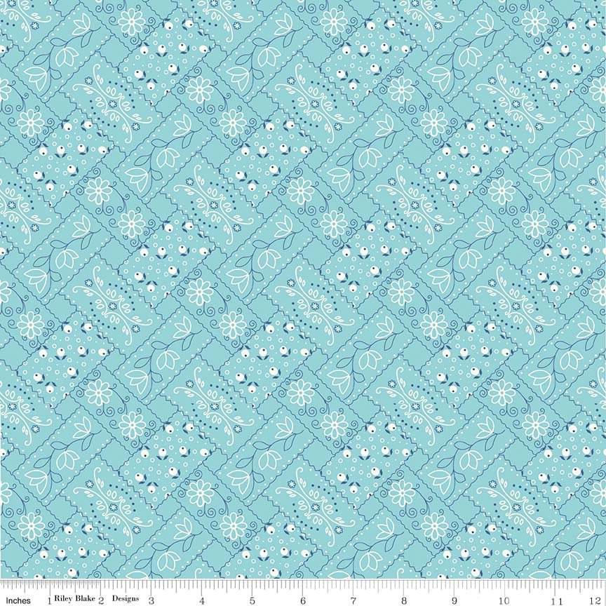 Aqua Bandanna Fabric from Farm Girl Vintage Collection at Cherry Creek Fabric
