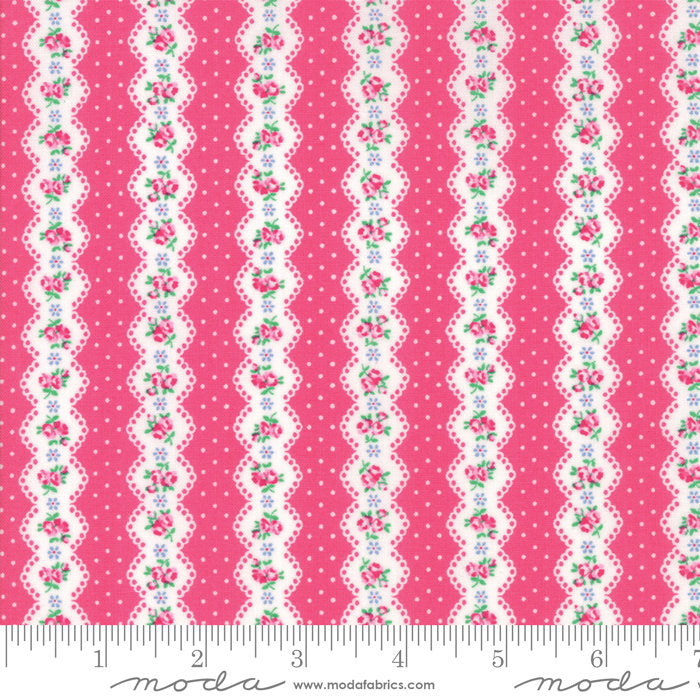 Dark Pink Floral Stripe Fabric from Guest Room Collection at Cherry Creek Fabric