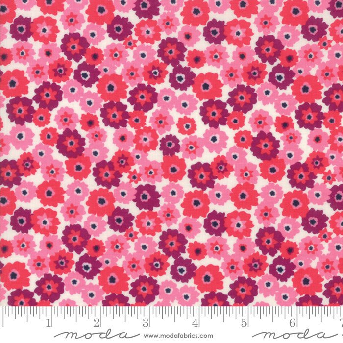 Pink on White Flower Tarts Fabric from Rosa Collection at Cherry Creek Fabric