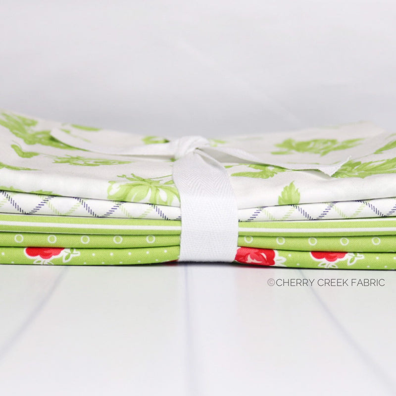Smitten Green One Yard Bundle from Smitten Collection at Cherry Creek Fabric