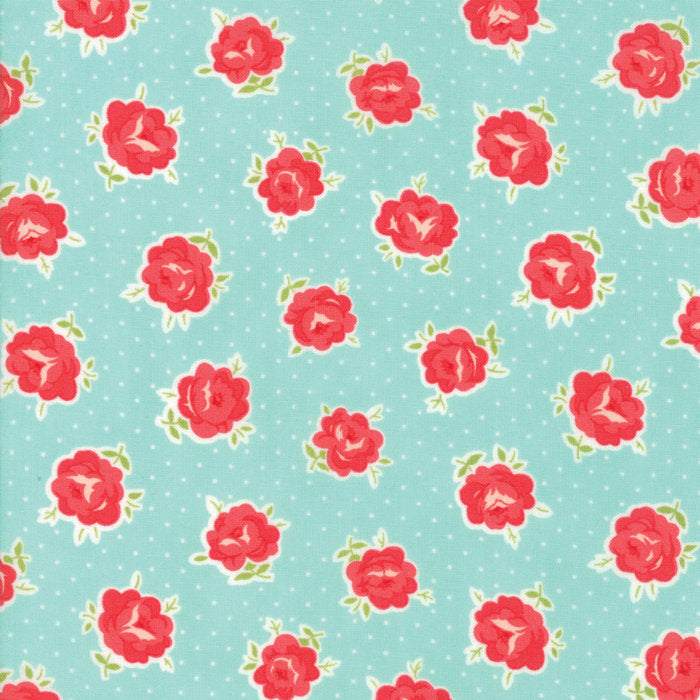 Aqua Lovely Floral Fabric - 1/2 yard