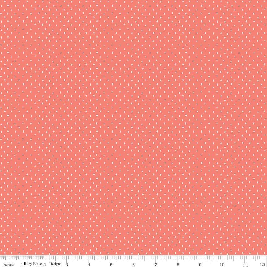 Coral Diamonds Fabric