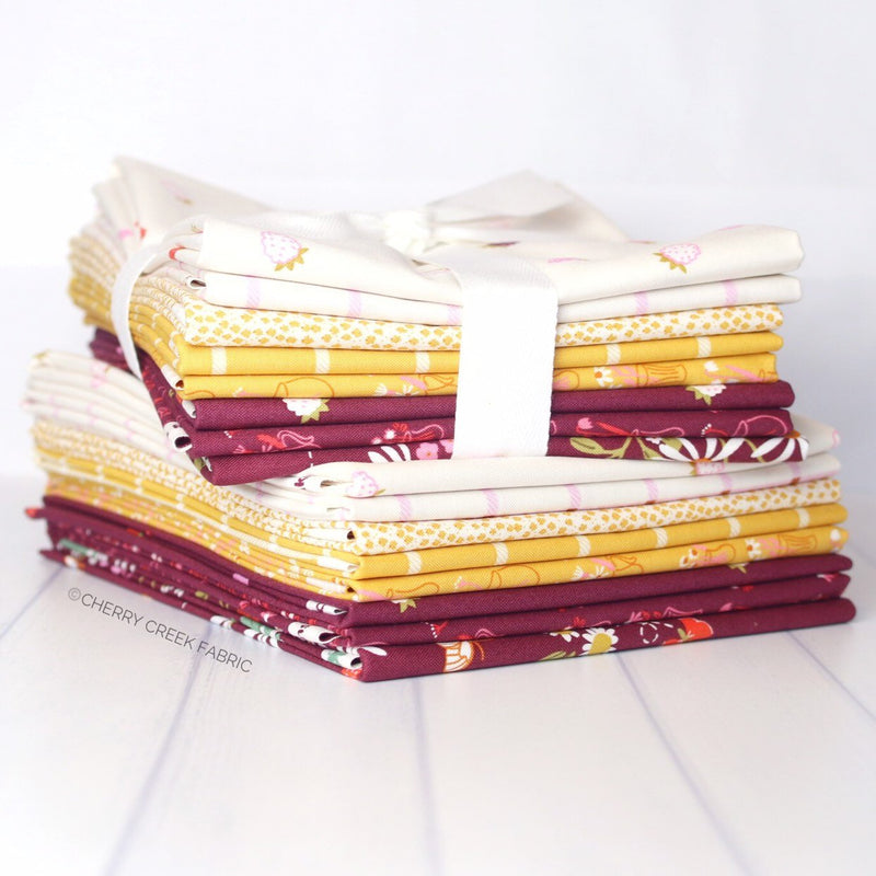 Wild Bouquet Burgundy & Yellow Half Yard Bundle from Wild Bouquet Collection at Cherry Creek Fabric